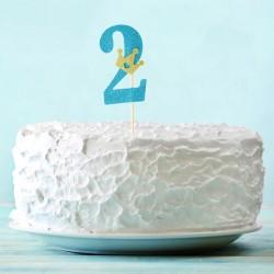Топпер для торта синий цифра 2 с короной 34см
