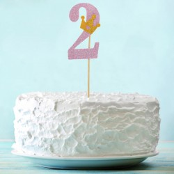 Топпер для торта розовый цифра 2 с короной 34см