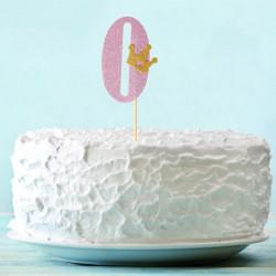 Топпер для торта розовый цифра 0 с короной 34см