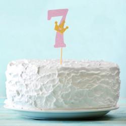 Топпер для торта розовый цифра 7 с короной 34см