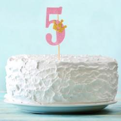 Топпер для торта розовый цифра 5 с короной 34см