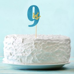 Топпер для торта синий цифра 9 с короной 34см