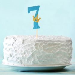 Топпер для торта синий цифра 7 с короной 34см