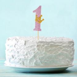 Топпер для торта розовый цифра 1 с короной 34см
