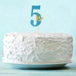 Топпер для торта синий цифра 5 с короной 34см