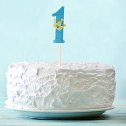 Топпер для торта синий цифра 1 с короной 34см