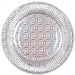 Тарелки однотонные, Серебро, 9 дюймов, 6шт