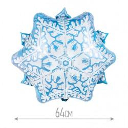 Шар (25''/64 см) Фигура, Снежинка, Голубой, 1 шт.