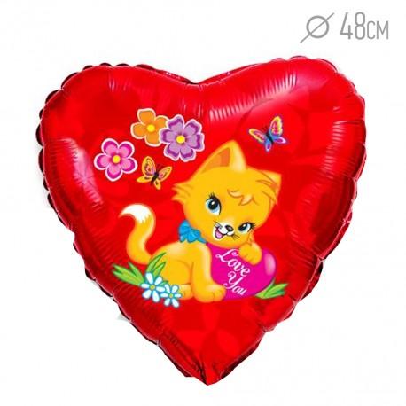 И 18 Сердце Влюбленный котенок / Loving cat / 1 шт / (Испания)