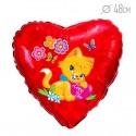 Шар Сердце Влюбленный котенок 48см