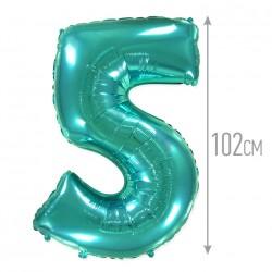 Шар (40''/102 см) Цифра, 5, Тиффани, 1 шт.