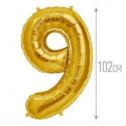 Шар фольгированный Цифра 9 золото 41см