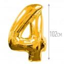 Шар фольгированный Цифра 4 золото 102см