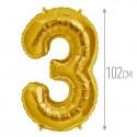 Шар фольгированный Цифра 3 золото 102см