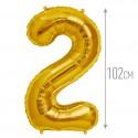 Шар фольгированный Цифра 2 золото 102см