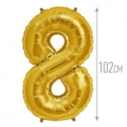 Шар фольгированный Цифра 8 золото 102см