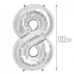 Шар фольгированный Цифра 8 серебро 102см