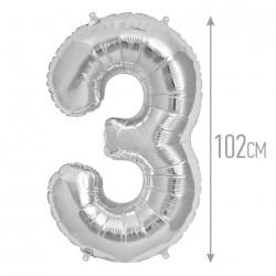 Шар фольгированный Цифра 3 серебро 102см