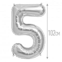 Шар фольгированный Цифра 5 серебро 102см