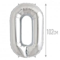 Шар фольгированный Цифра 0 серебро 102см
