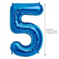 Шар фольгированный Цифра 5 синий 102см