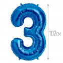 Шар фольгированный Цифра 3 синий 102см