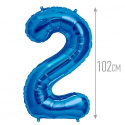 Шар фольгированный Цифра 2 синий 102см