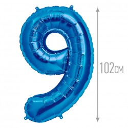 Шар фольгированный Цифра 9 синий 102см