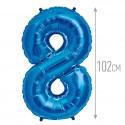 Шар фольгированный Цифра 8 синий 102см