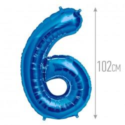 Шар фольгированный Цифра 6 синий 102см