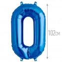 Шар фольгированный Цифра 0 синий 102см