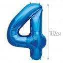 Шар фольгированный Цифра 4 синий 102см
