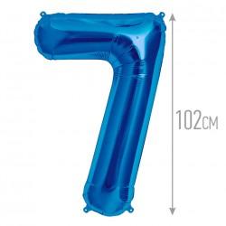 Шар фольгированный Цифра 7 синий 102см