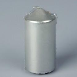 Свеча-бочонок в плёнке серебряная