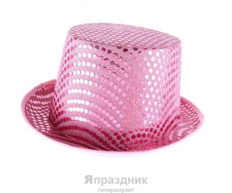 Карнавальная шляпа цилиндр с блеском розовая 14*25*30