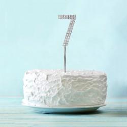 """Топпер для торта """"7"""" со стразами, цвет серебро 3468155"""