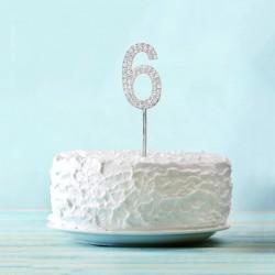 Топпер для торта цифра 6 Серебряные стразы