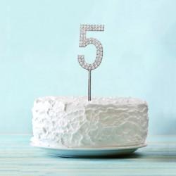 """Топпер для торта """"5"""" со стразами, цвет серебро 3468153"""