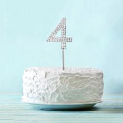 Топпер для торта цифра 4 Серебряные стразы