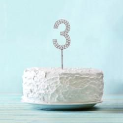 Топпер для торта цифра 3 Серебряные стразы