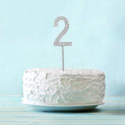 Топпер для торта цифра 2 Серебряные стразы