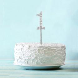 Топпер для торта цифра 1 Серебряные стразы