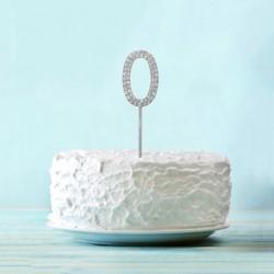 """Топпер для торта """"0"""" со стразами, цвет серебро 3468148"""
