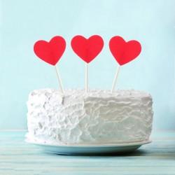 Топпер для торта Красное сердечко 6шт