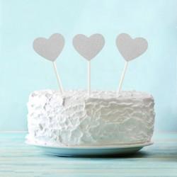 Топпер для торта Сердечко серебро 6шт