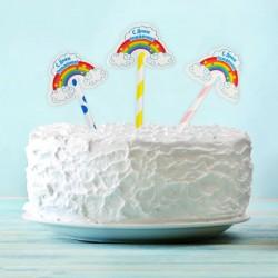 Топпер для торта С Днем Рождения радуга 6шт
