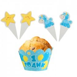Набор для украшения кексов 1 годик малыш: 6 формочек+12 шпажек