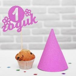 """Набор для праздника """"1 годик""""малышка (топпер+колпак), цвет розовый 2466579"""