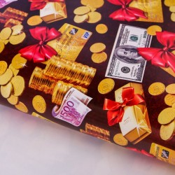 """Бумага упаковочная глянцевая """"Золотые монеты"""", 70 х100 см 2739455"""