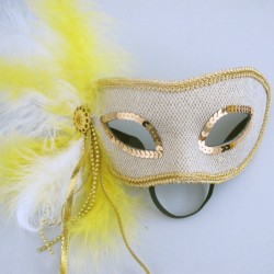 Маска венецианская «Карнавал» с перьями Белая с желтым (Китай)